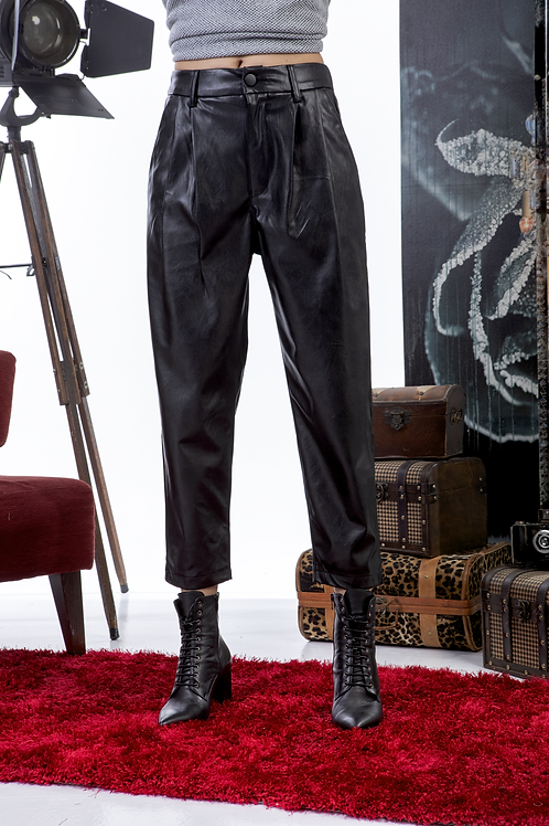 Eco leather μαύρο παντελόνι