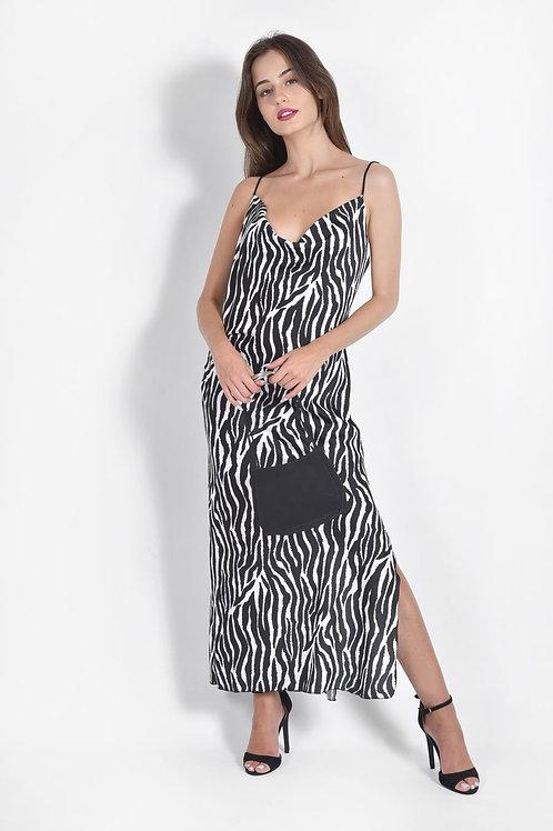 Animal print slip φόρεμα