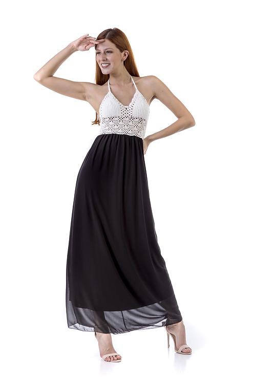 Δίχρωμο φόρεμα με πλεκτό μπούστο