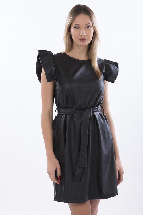 Φόρεμα δερματίνη με φραμπαλά στο μανίκι