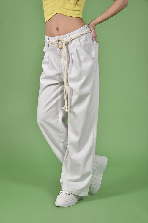 Λευκό wide legs jean