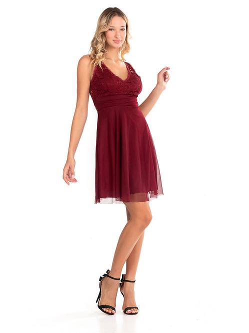 Μίνι φόρεμα με δαντέλα και τούλι