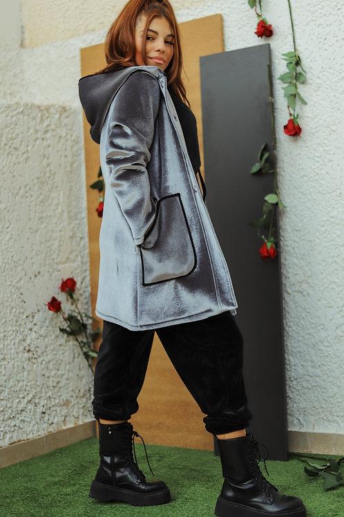 Velvet παλτό με κουκούλα