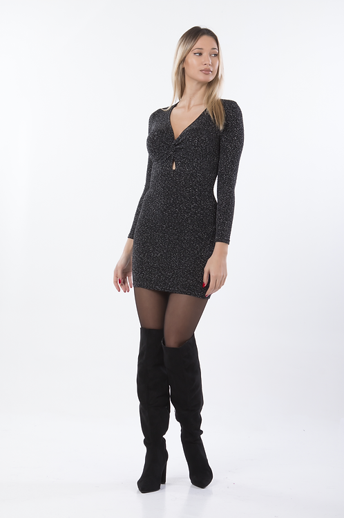 Lurex φόρεμα με κόμπο στο μπούστο