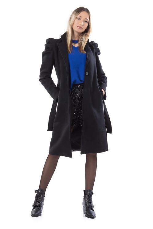 Μακρύ παλτό με φουσκωτό μανίκι