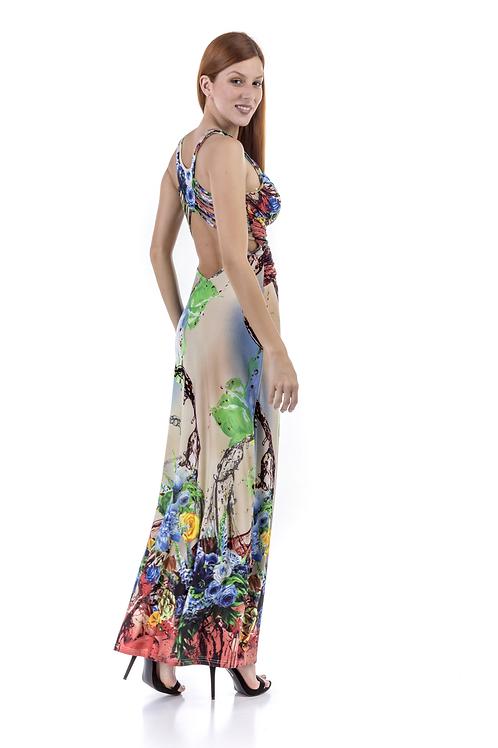 Μακρύ εμπριμέ φόρεμα με ιδιαίτερο σχέδιο στην πλάτη