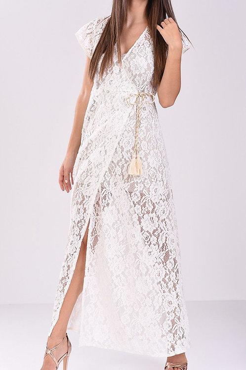 Φόρεμα Maxi κρουαζέ δαντέλα