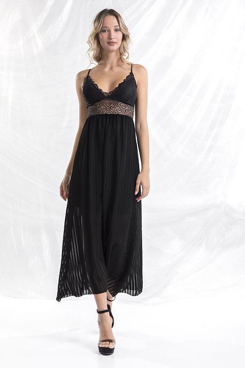 Μάξι φόρεμα με δαντέλα στο μπούστο