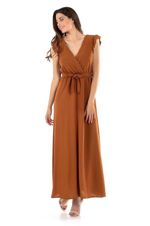 Maxi κρουαζε φόρεμα με βολάν