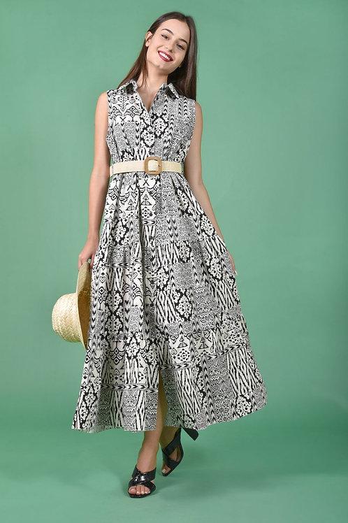 Aztec midi φόρεμα με κουμπιά