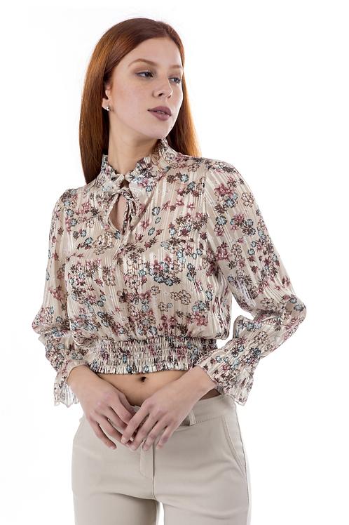 Crop φλοράλ μπλούζα