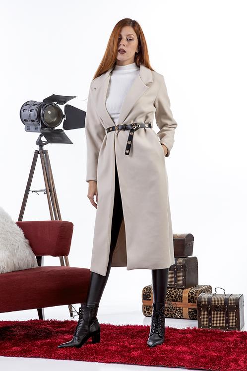 Μακρύ μονόχρωμο παλτό με ζώνη