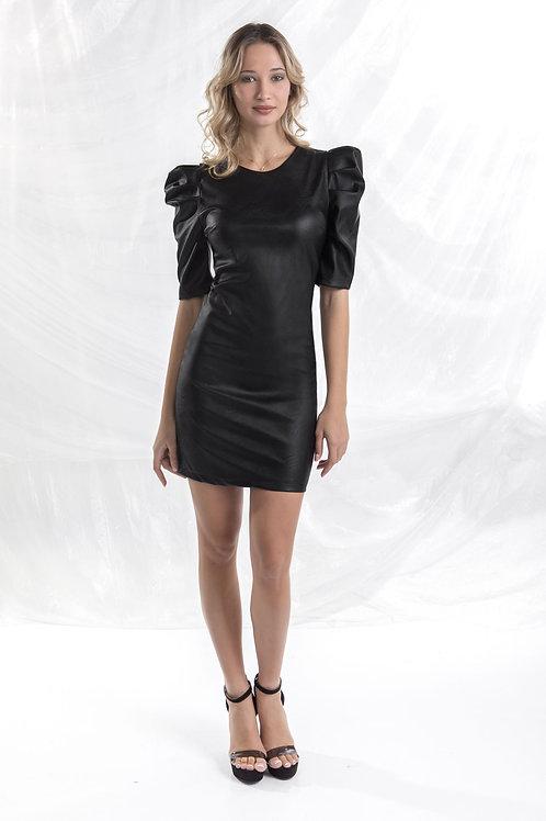 Φόρεμα δερματίνη με ιδιαίτερο μανίκι