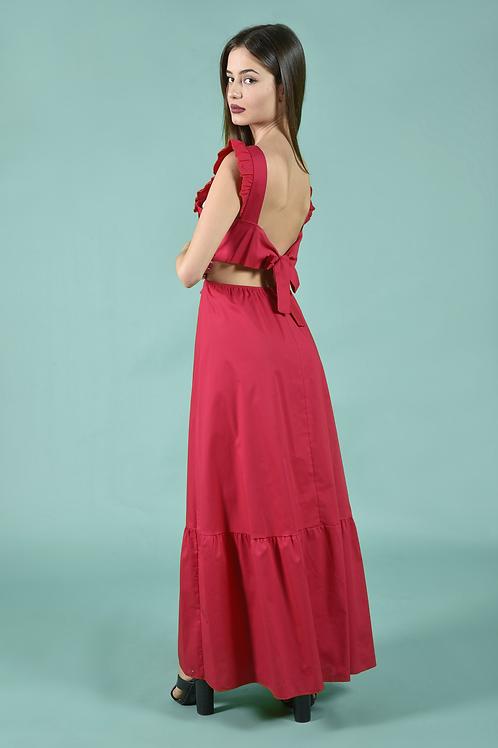 Μίντι φόρεμα με ανοιχτή πλάτη και βολάν