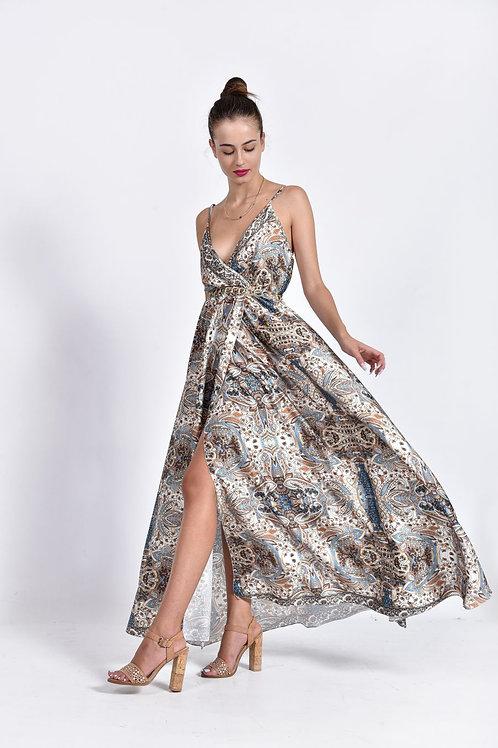Floral σατέν φόρεμα