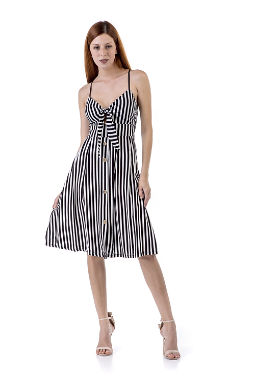 Ασπρόμαυρο ριγέ φόρεμα με κόμπο στο μπούστο