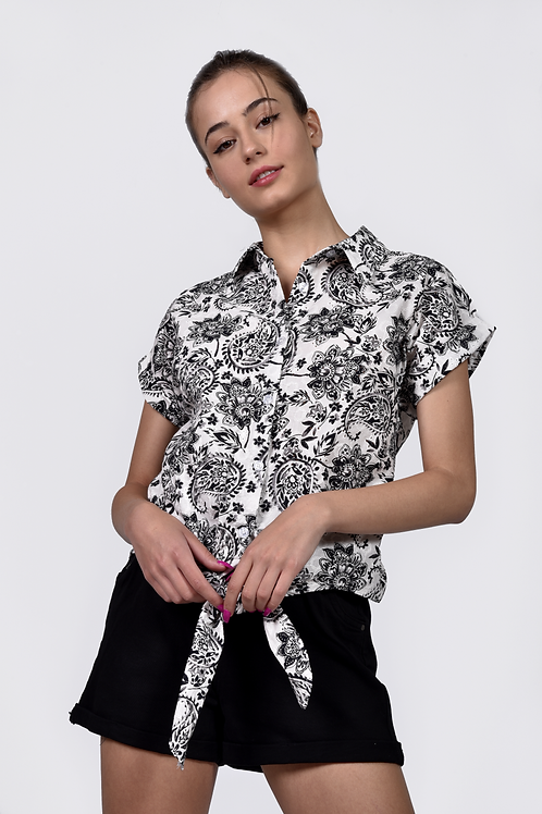 Floral κεντητό πουκάμισο