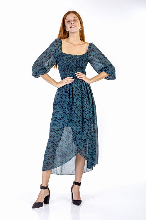 Animal print φόρεμα σφηγκοφωλιά