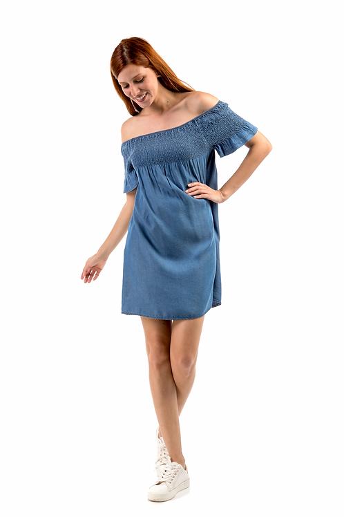 Μίνι τζιν φόρεμα με ακάλυπτους ώμους