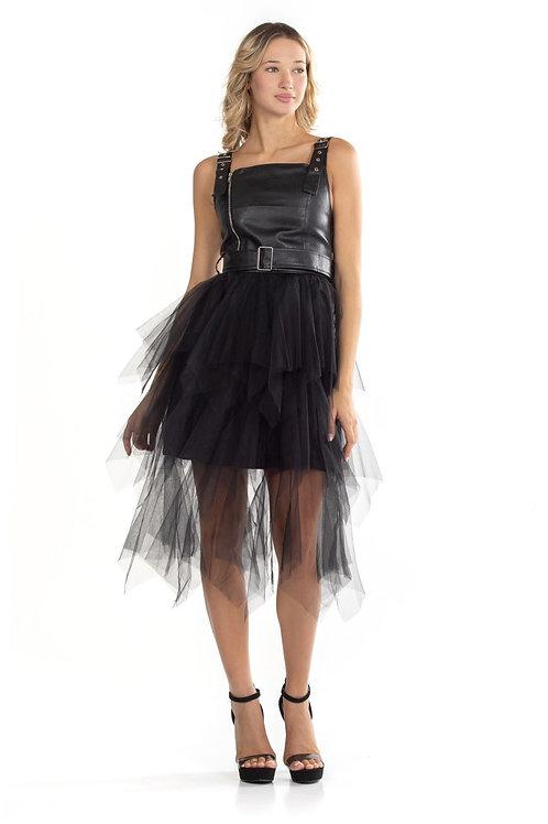 Τούλινο φόρεμα με δερματίνη