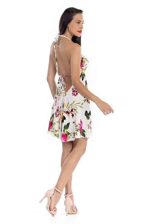 Φόρεμα floral με ανοιχτή πλάτη