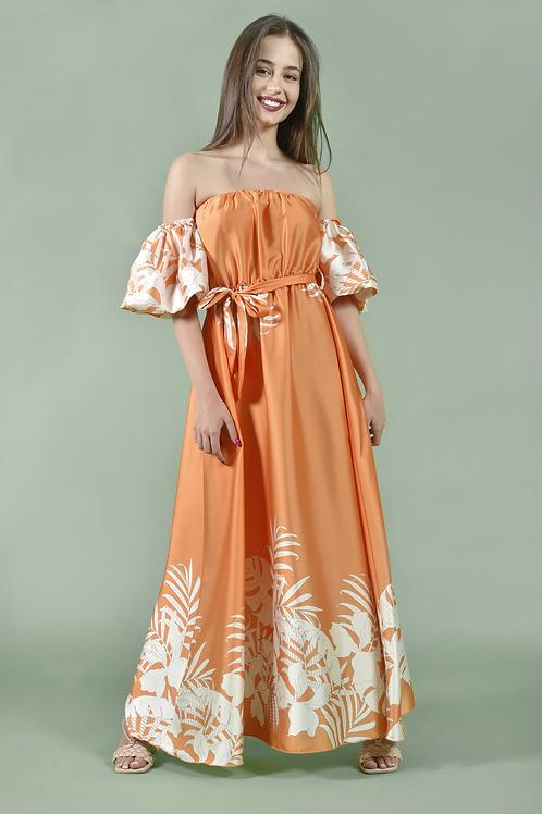 Strapless saten φόρεμα