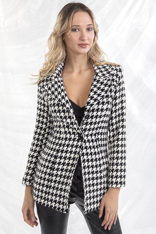 Μίντι ασπρόμαυρο παλτό