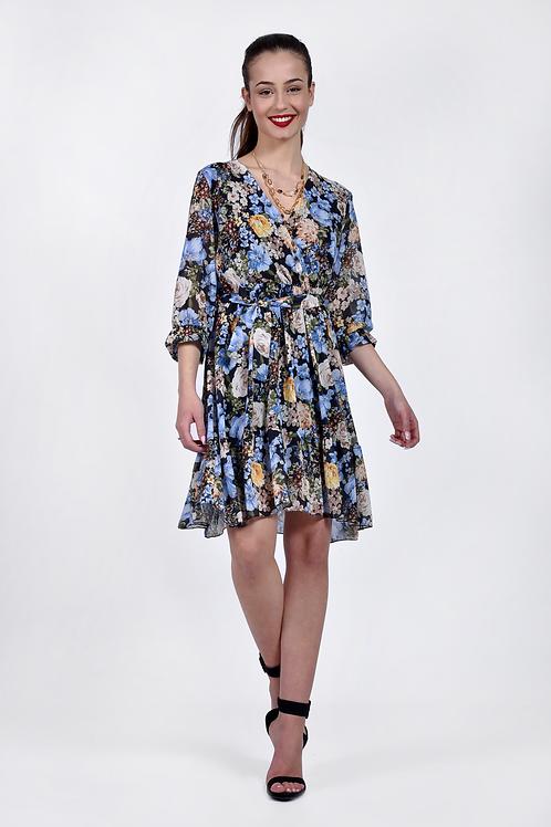Floral φόρεμα με ζώνη