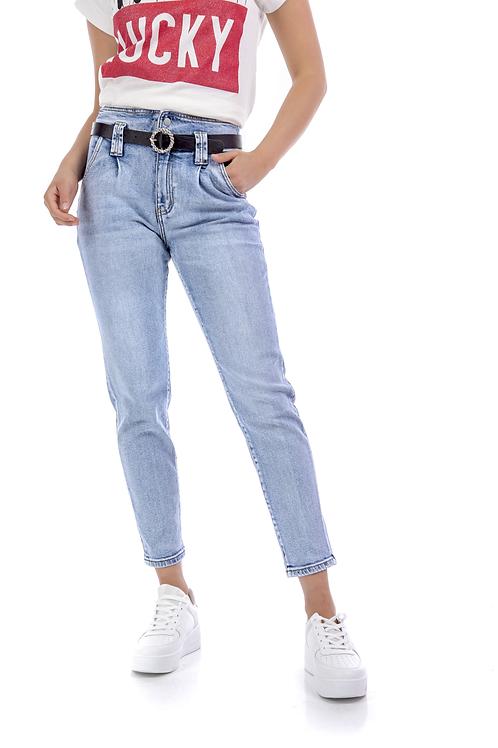 Ψηλόμεσο τζιν παντελόνι με ζώνη