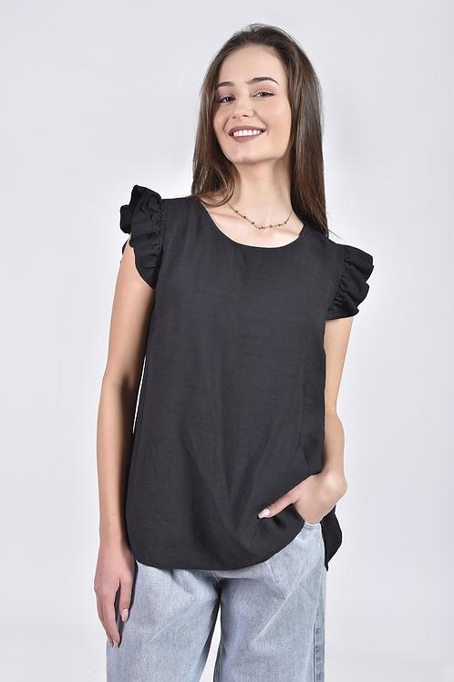 Μονόχρωμη μπλούζα με φραμπαλά