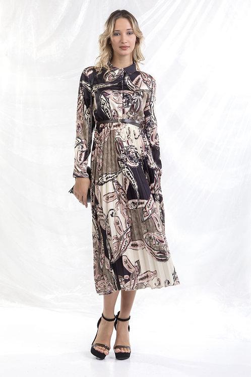 Μίντι εμπριμέ φόρεμα πλισέ