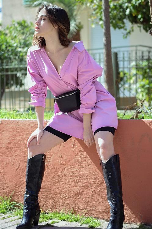 Φόρεμα πουκαμίσα με σούρα στο μανίκι