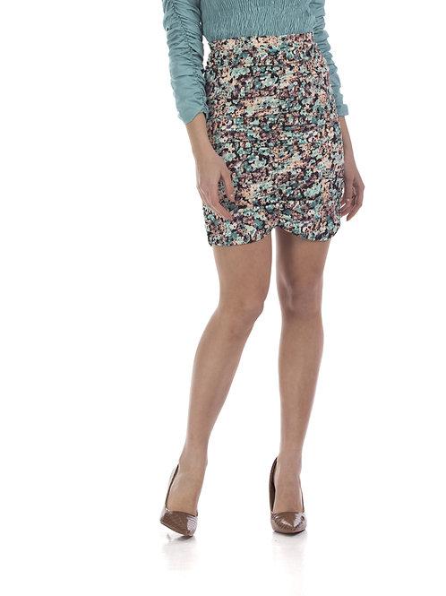 Φλοράλ φούστα με σούρα
