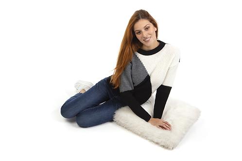 Τρίχρωμο πλεχτό πουλόβερ