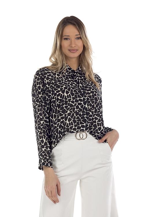 Ασπρόμαυρο animal print πουκάμισο