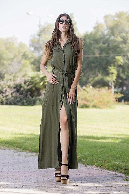 Μάξι φόρεμα με γιακά και κουμπιά