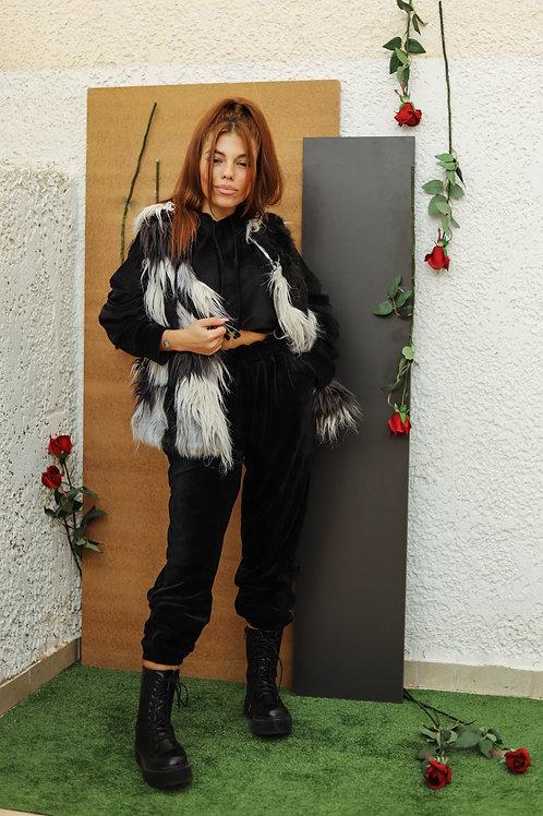 Τρίχρωμο γούνινο γιλέκο