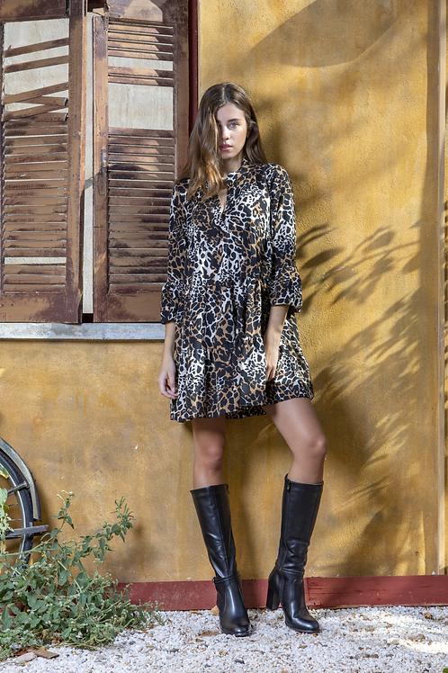 Animal print καφέ φόρεμα