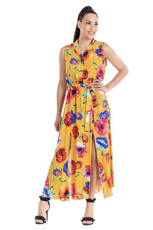Φόρεμα Maxi floral αμάνικο
