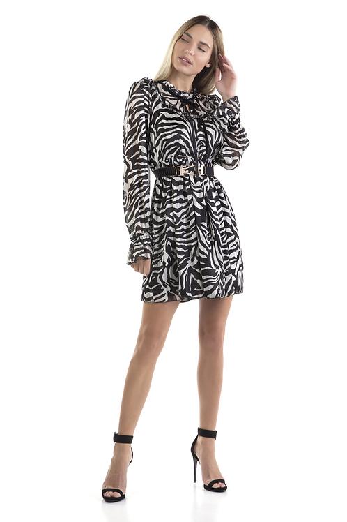 Ασπρόμαυρο animal print φόρεμα με βελούδινη κορδέλα στον λαιμό