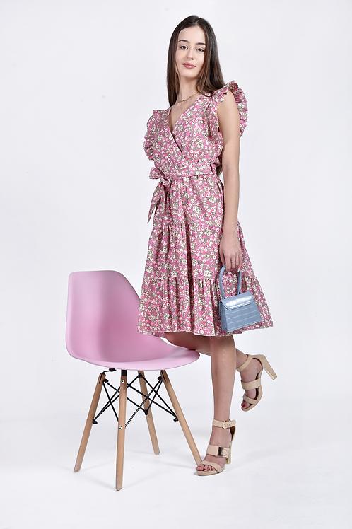 Floral φόρεμα με φραμπαλά