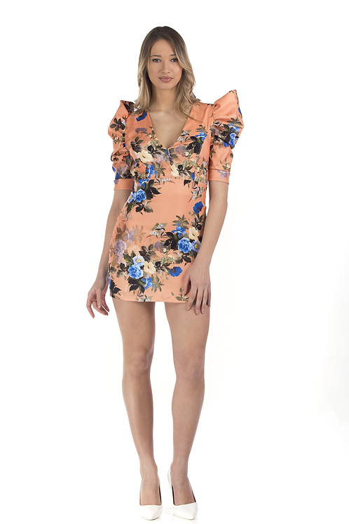 Φλοράλ φόρεμα με φουσκωτούς ώμους και ανοιχτή πλάτη