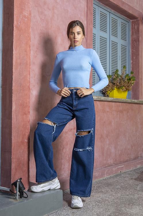 Φαρδύ παντελόνι με σκισίματα