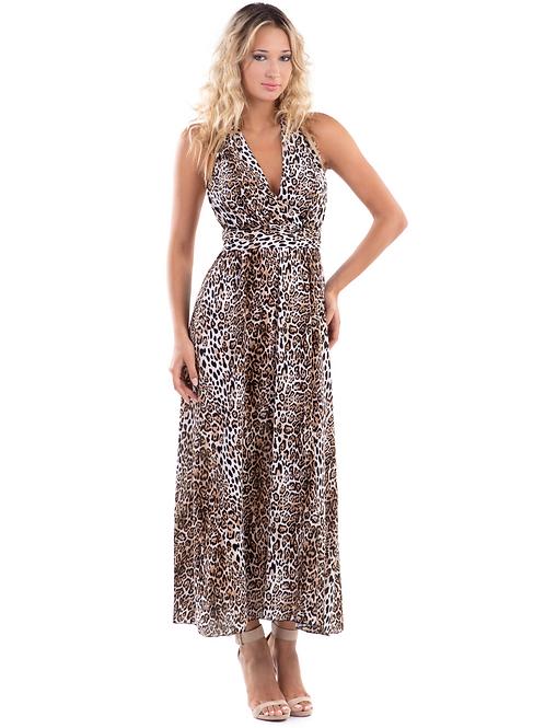 Maxi εξώπλατο animal print φόρεμα