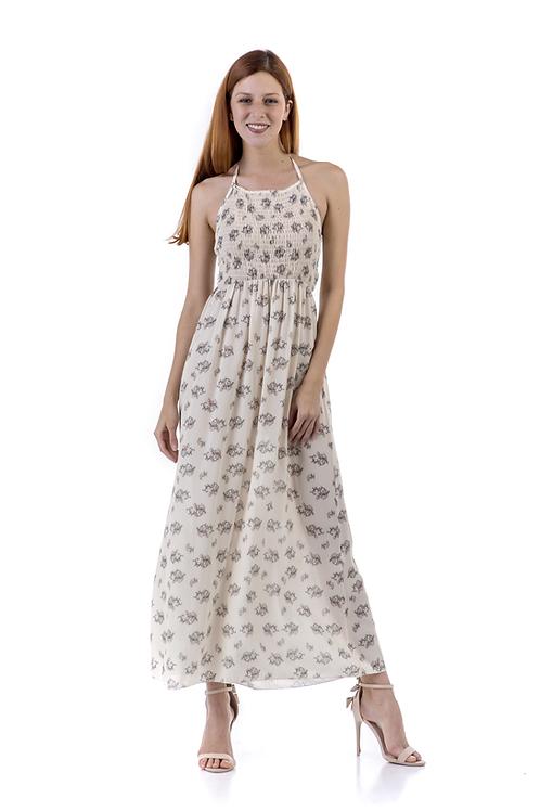 Εκρού φλοράλ φόρεμα
