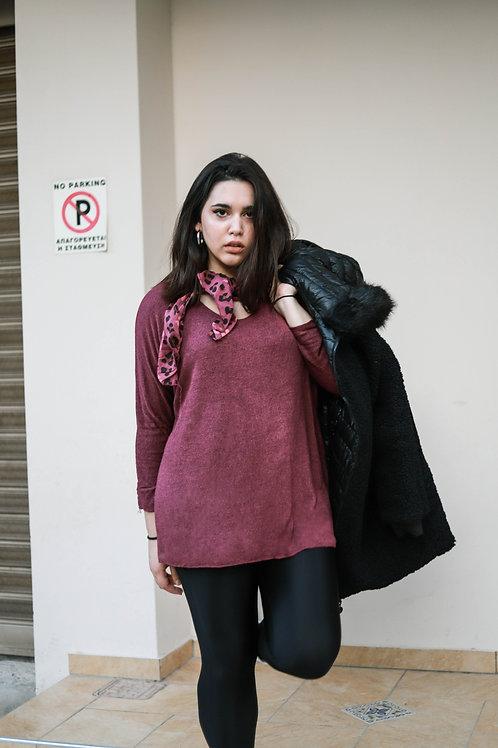 Μπλούζα με λεοπάρ χρωματιστό μαντίλι