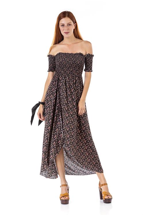 Μακρύ φλοράλ φόρεμα με ακάλυπτους ώμους