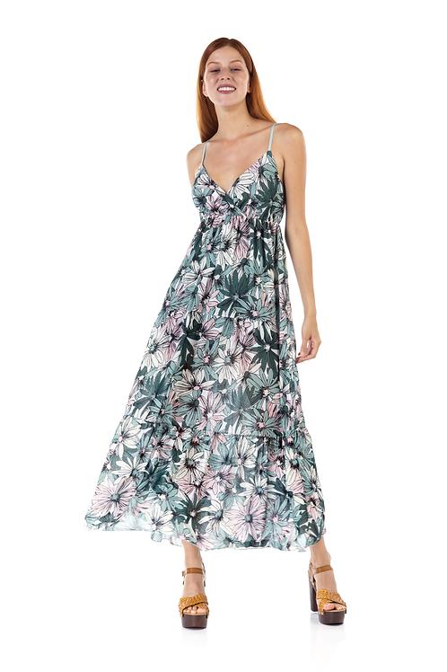 Φλόραλ φόρεμα με τιράντα