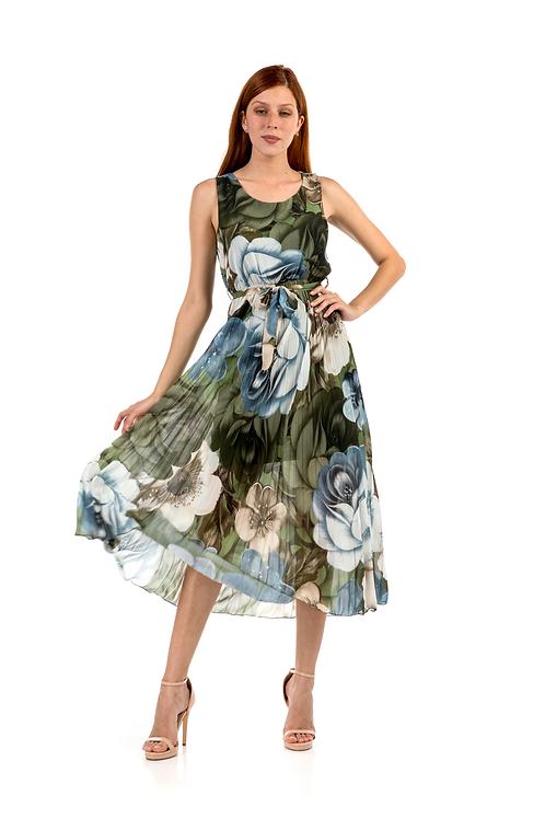 Μίντι φλοράλ πλισέ φόρεμα