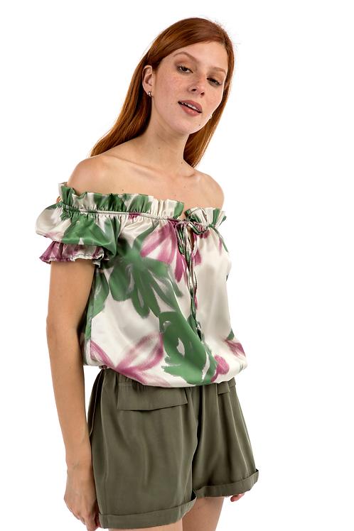 Φλοράλ μπλούζα με ακάλυπτους ώμους